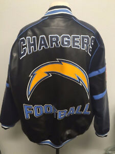 San Diego Chargers faux leather jacket XL GREAT condition