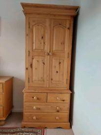 Antique Pine Wardrobe Draw unit. (Tall Boy)