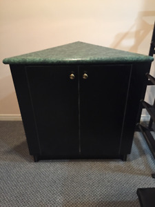 Black and Green Corner Cabinet - Excellent Condition
