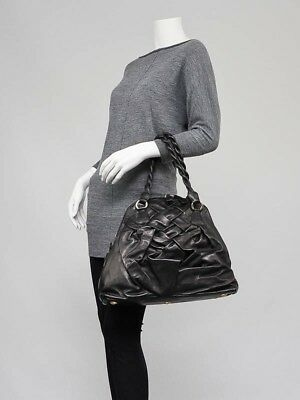 Valentino - Black Nappa Leather Couture Braided Tote Bag- Brand New