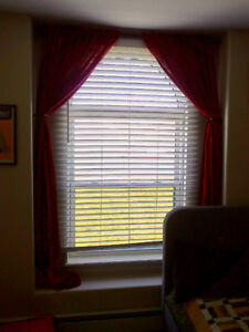 Maroon Curtains with Rod and Drawbacks