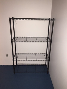 4-Tier Black Wire Shelving - Brand New