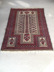 Authentic Hand-Made Wool Belouch Prayer Rug from Afghanistan