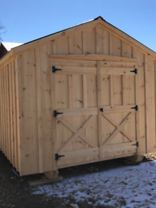 10x20 amish shed, rough cut pine, steel roof, barn doors