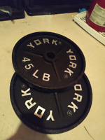 Pair of York Deep Dish 45 Pounds for Excercise