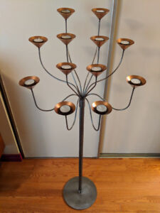 Beautiful copper and steel decorative free standing candelabra
