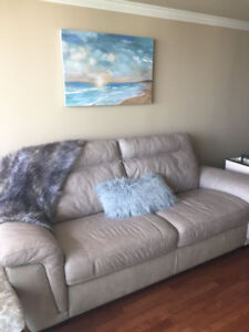Brown leather couch (Cindy Crawford Home Collection)