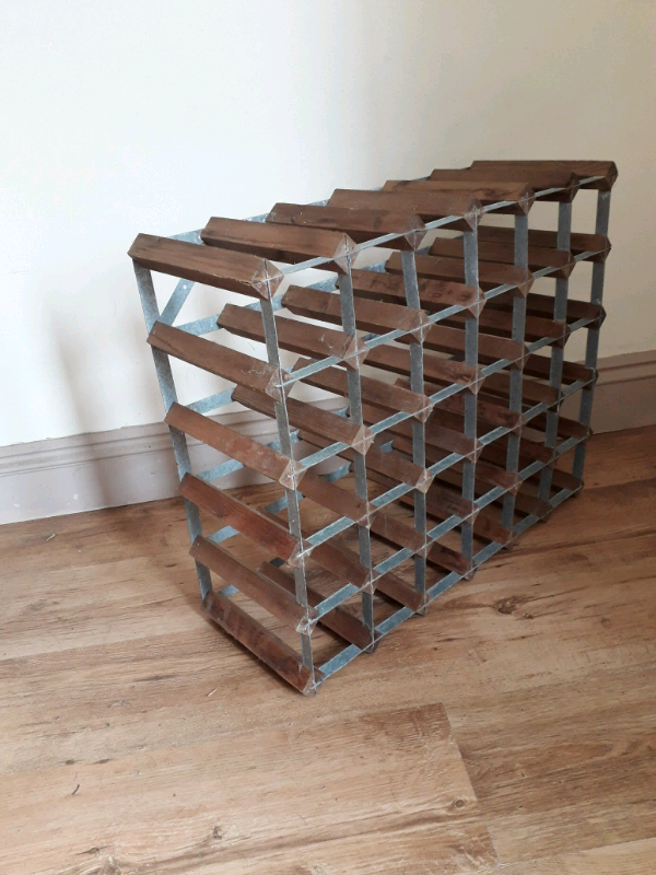 Large Wood And Metal Wine Rack In