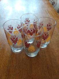 X4 retro vintage juice glasses