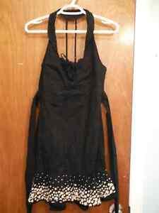 black, cotton halter dress