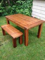 Handcrafted country still dining table and bench