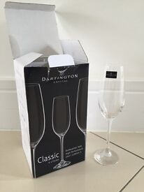 Dartington Crystal champagne flutes X 4