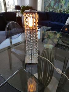 Modern Crystal Cascading Shade Chrome Bedside Table Lamp