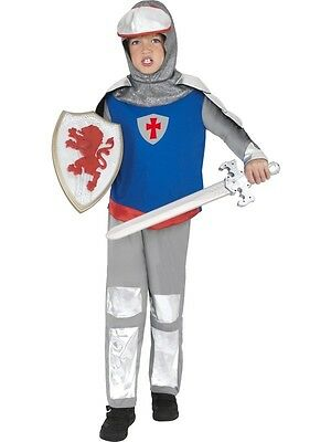 Boys Knight Costume Crusader Outfit LARP Renaissance Red Blue Silver Child Kids (Renaissance Costume For Boys)