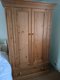 Solid Pine Double Wardrobe & 1x Double Drawer
