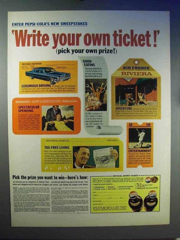 1966 Pepsi Soda Ad - Write Your Own Ticket