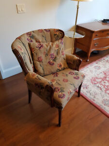 Antique upholstered occasional chair