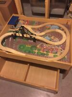 Train table with track and drawer underneath