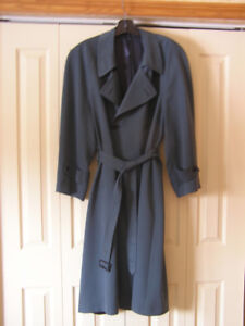 Men's Harry Rosen Teal Blue Double Breasted Trench Coat Sz M-L