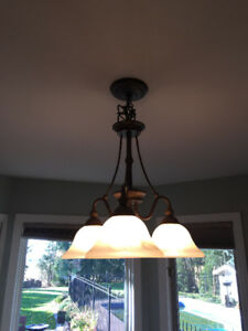 Matching Chandelier and 2 Pendant Lights
