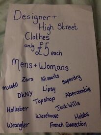 Designer and high street clothes £5 each