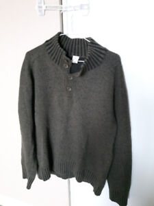 Men's green wool sweater size large L