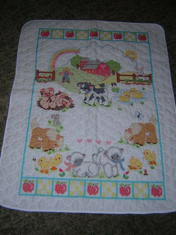 """Completed Cross Stitch Baby Quilted Crib Top Farm Scene 32"""" x 41"""""""