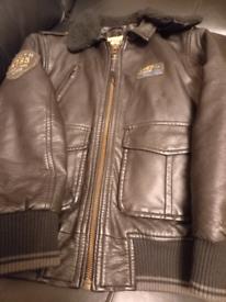 Boy's leather look biker jacket