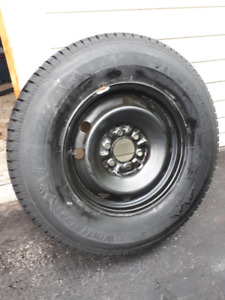 4 Firestone Winterforce 2 UV Studded Tires on Steel Wheels