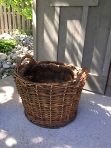 "Large Wooden Planter / Basket ...Approx . 14"" High X 18"" Dia."