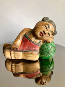 HAND CARVED WOOD Sleeping Girl on Melon Thai Sculpture Painted