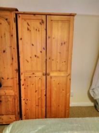 Solid pine 2 shelf wardrobe perfect condition
