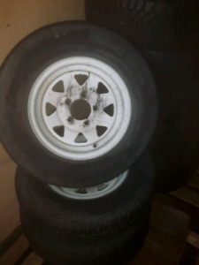 3 - 205 / 75 / 15 st trailer tires and spoked rims