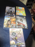 5 brand new pc dvd games the settlers7 splinter cell, dogfights,