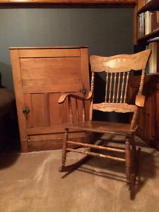 Pressed back rocking chair