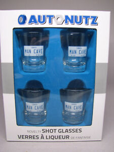 Man Cave novelty shot glasses (4 glasses) new in box $10