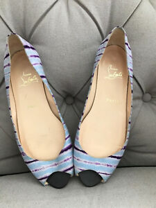 Christian LOUBOUTIN Open Peep Toe Flat Shoes Red Soles 39.5