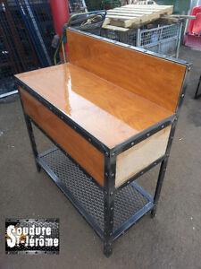 Meuble en bois et acier design industriel