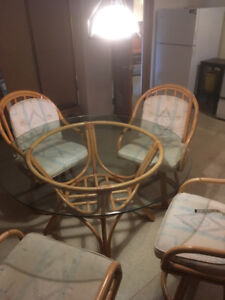 For sale: Palma Brava rattan, kitchen table, 4 chairs, $35.00