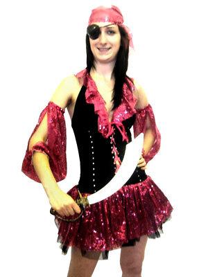Sexy Pink Glitter Pirate Dress Halloween Costume Fancy Dress Theme Party 5 Pcs (Pink Pirate Halloween Kostüme)