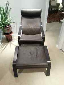 Ikea Poang Leather Recliner and Footstool