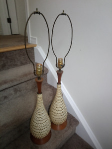 Pair of Mid-Century Modern Teak and Ceramic Lamps