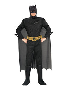 Adult Med Licensed Batman Deluxe Dark Knight New Fancy Dress Costume Mens Gents