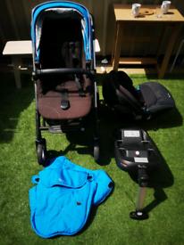 Silvercross pram, isofix base, carseat newborn +adapter, & toddler