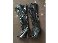 Thigh high boots black size 5 new