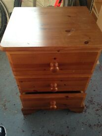 Wooden three drawer unit