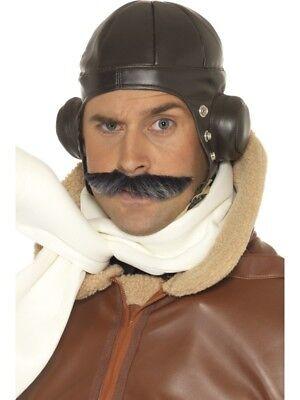 Herren Unisex Kostüm Fliegend Hut Aviator Pilot Pummelig Biggles von Smiffys Neu
