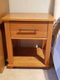 2 Solid Oak Bedside Cabinets with one Drawer