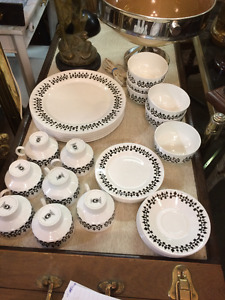 set vaisselle vintage porcelaine RIDGWAY MINARET ENGLAND 6 couv