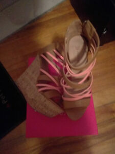 Cork and Pink colored wedge womens sandal size 9.5